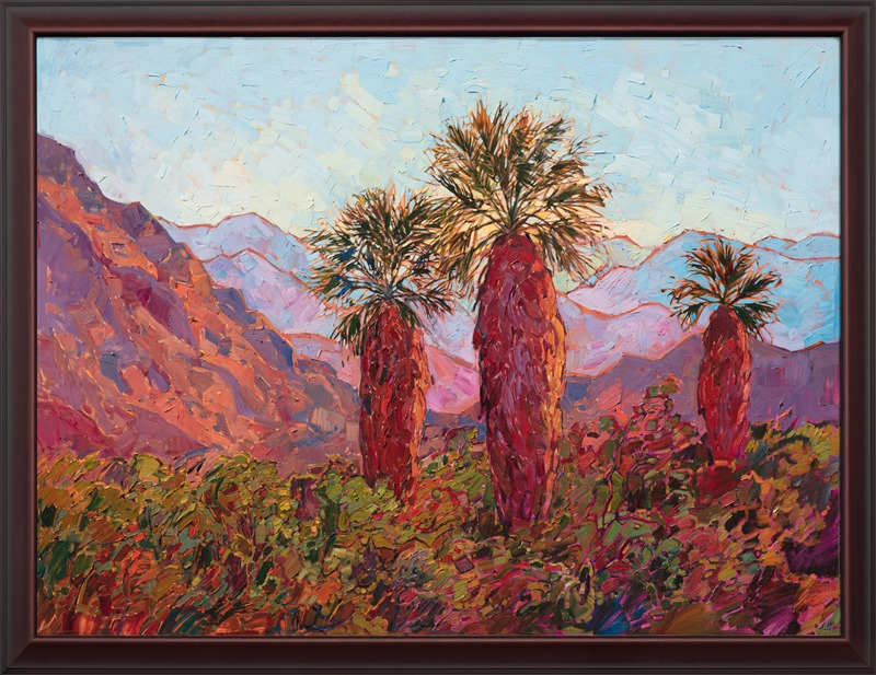 This Erin Hanson painting, Palm Awakening is in a beautiful Mahogany wood frame.