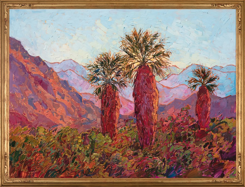 This Erin Hanson painting, Palm Awakening is in a beautiful hand carved gold frame.