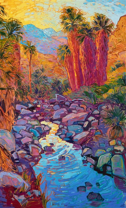 Indian Canyons original oil painting for sale by contemporary impressionist artist Erin Hanson
