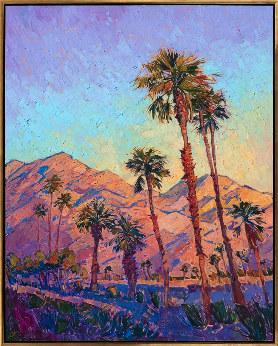 Oil painting of California desert palm trees by modern impressionist artist Erin Hanson framed in a gold floater frame