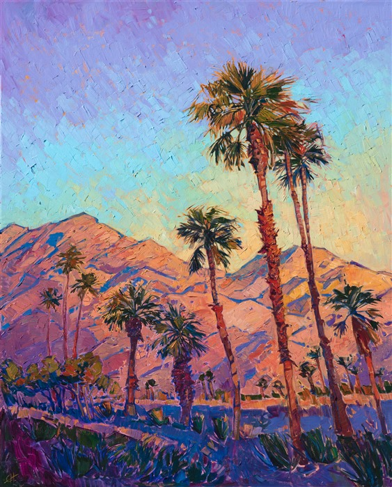 Oil painting of California desert palm trees by modern impressionist artist Erin Hanson