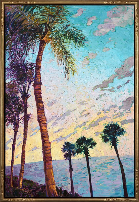 Oil painting of coastal palm tree scenery framed in gold Open Impressionism frame, painted by contemporary artist Erin Hanson