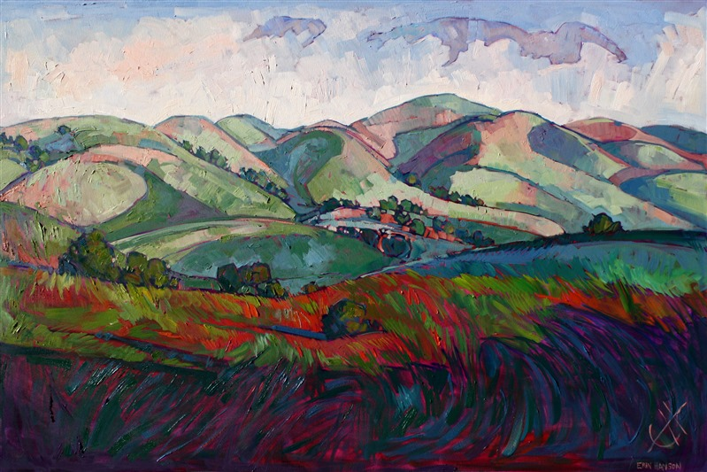 Original oil painting of Paso Robles, full of movement and expression, by Erin Hanson
