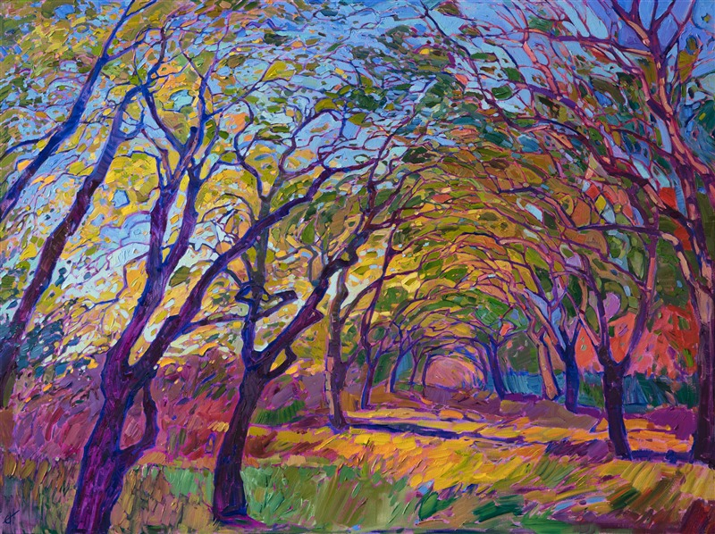 New path painting by Erin Hanson, a modern impressionist colorful painting of mosaic trees.