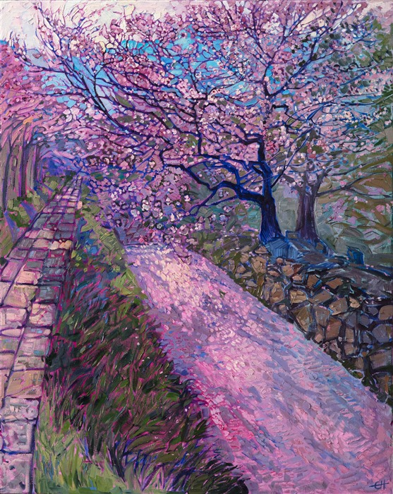 Cherry blossom Japan landscape oil painting by Erin Hanson