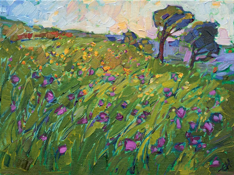 Purple landscape painting of Texas Hill country by impressionist artist Erin Hanson