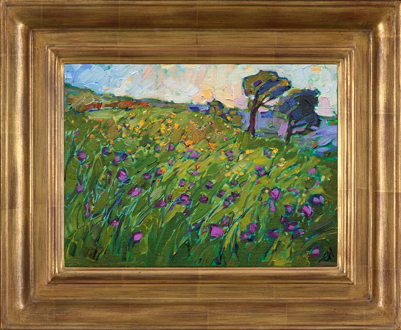Purple landscape painting of Texas Hill country framed in a hand carved gold frame by impressionist artist Erin Hanson