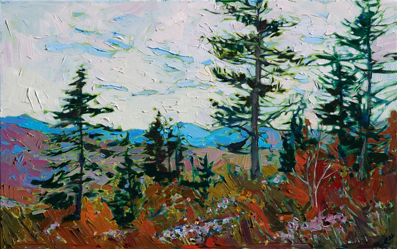 Landscape oil painting of Quill Hill in Maine with fall colors by impressionist artist Erin Hanson