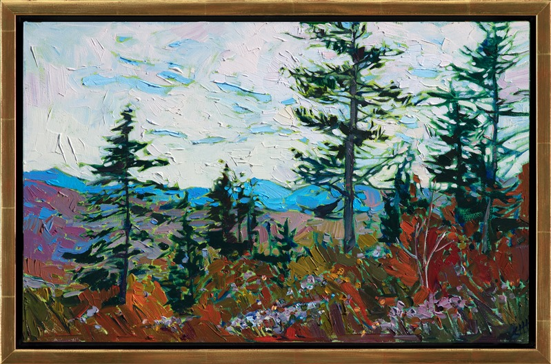 Oil painting of Acadia National Park scenery with the White Mountains framed in gold floater frame by contemporary impressionist artist Erin Hanson