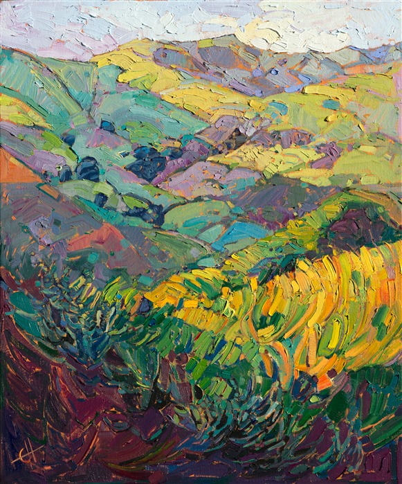 California wine country oil painting by contemporary landscape painter Erin Hanson