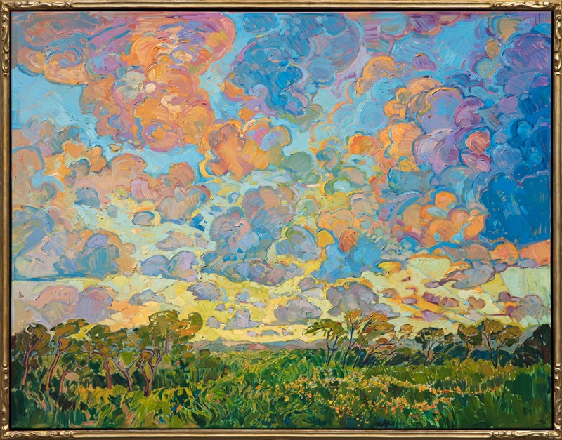 This Erin Hanson painting, Radiant Clouds is in a beautiful hand carved gold frame.