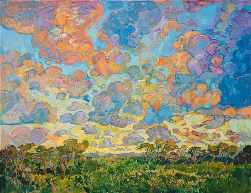 Oil painting of Texas hill country by impressionistic artist Erin Hanson