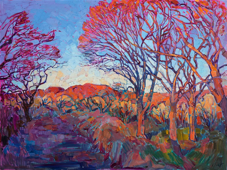Contemporary impasto landscape oil painting by open impressionist Erin Hanson.