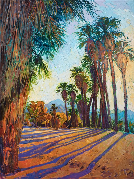 Indian Canyons desert palm oasis painting by Erin Hanson