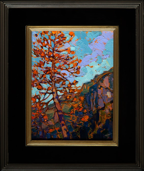 Fall pines in Yosemite, original oil painting by Erin Hanson.