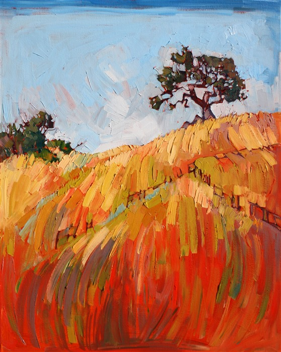 Golden California hills are painted in oils by colorist Erin Hanson
