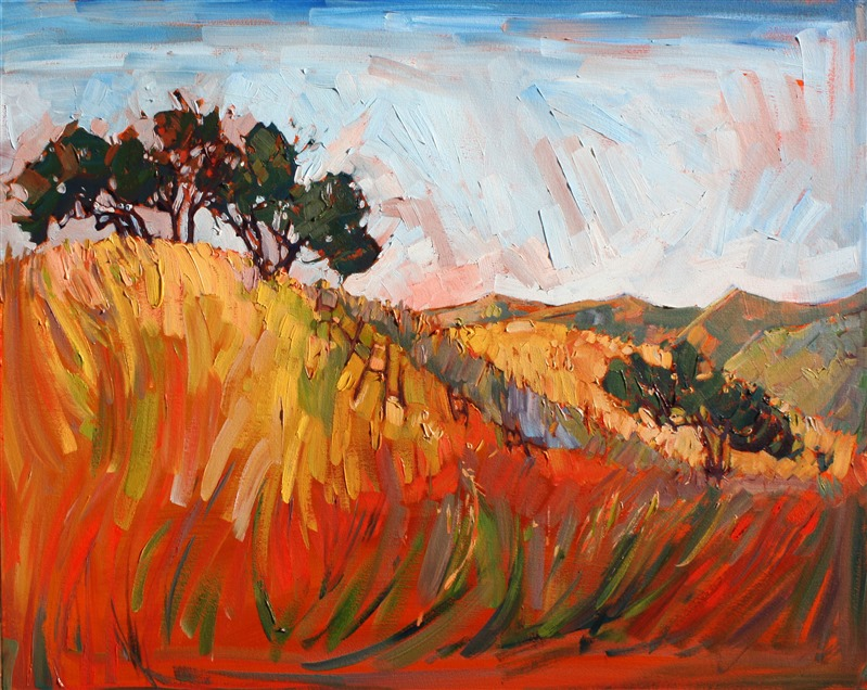 Red and gold summer hills painted in vibrant color by oil painter Erin Hanson