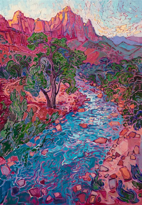 Zion National Park museum art exhibition - original oil painting for sale by Erin Hanson