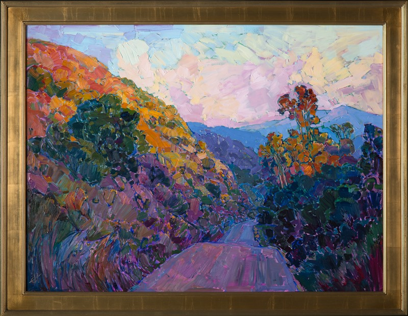 Original oil painting by Erin Hanson depicts the rolling hills inland of the Monterey Pennisula.
