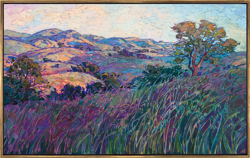 Paso Robles oil painting with deep green and purples by impressionist Erin Hanson framed in gold floater frame