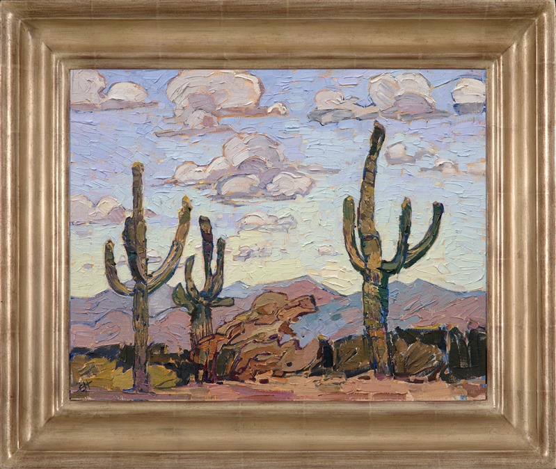 Landscape painting of Saguaro desert framed in a champagne hand carved frame painted by impressionist artist Erin Hanson