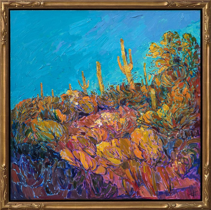 Beautiful impressionistic oil painting of Saguaro Desert by Erin Hanson in gold open impressionist frame
