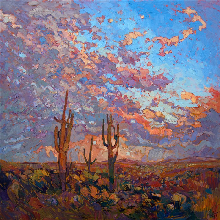 Arizona Saguaro landscape painting in dramatic lighting, by modern impressionist Erin Hanson