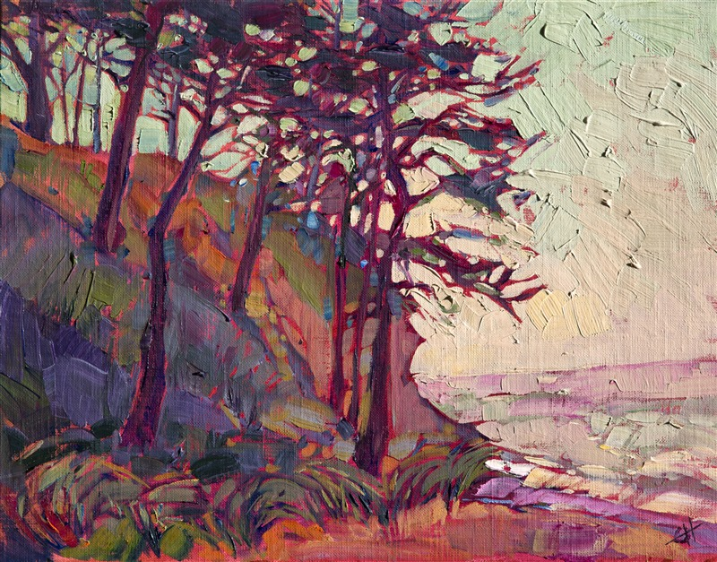 Cypress coastal painting, oil on board, by Erin Hanson