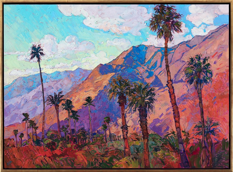 Original oil painting of Santa Rosa landscape with grand orange mountains with purple shadows and palm trees framed in a gold floater frame by contemporary artist Erin Hanson