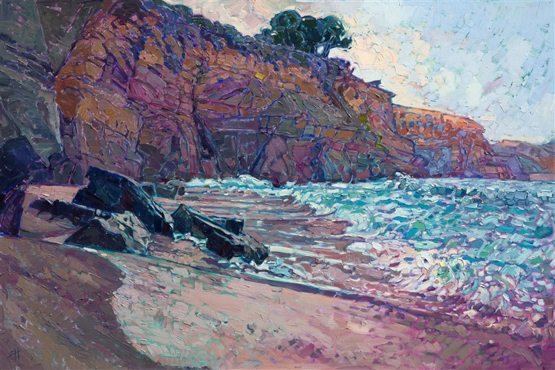 California rocky coast Seal Beach La Jolla oil painting by Erin Hanson