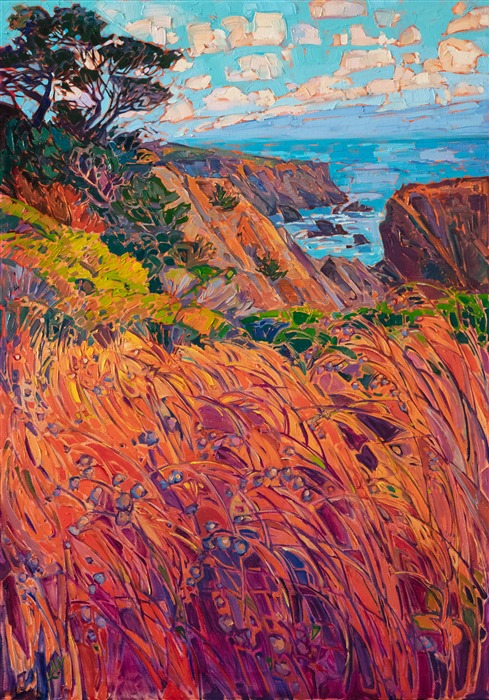 Mendocino California coastal artwork original oil painting for sale by modern impressionist Erin Hanson.