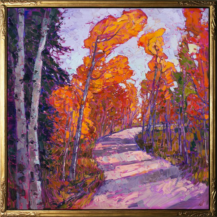 Utah aspens landscape oil painting by modern expressionist painter Erin Hanson.