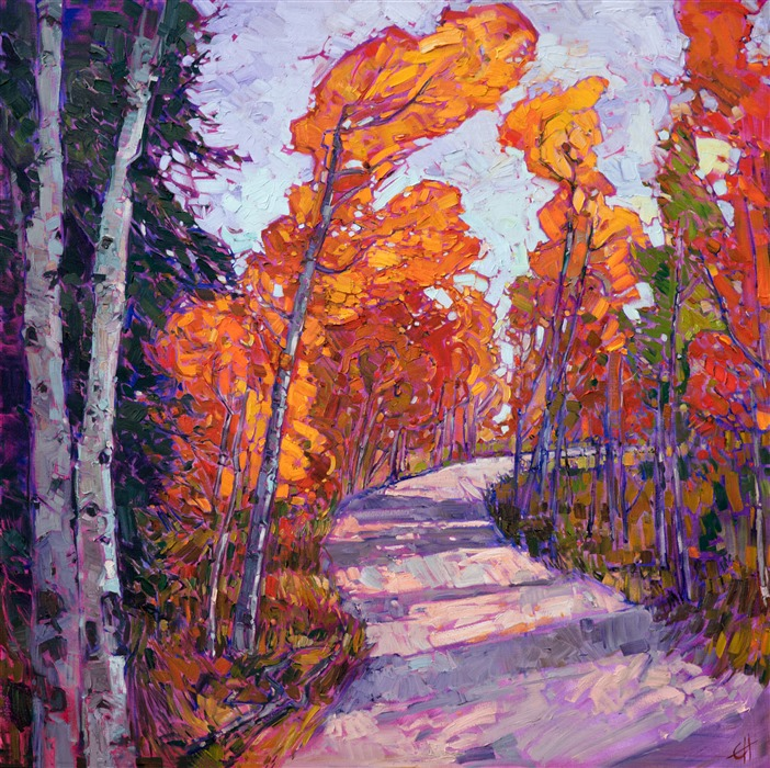 Cedar Breaks National Park autumn colors aspen trees in Utah, original oil painting by Erin Hanson.
