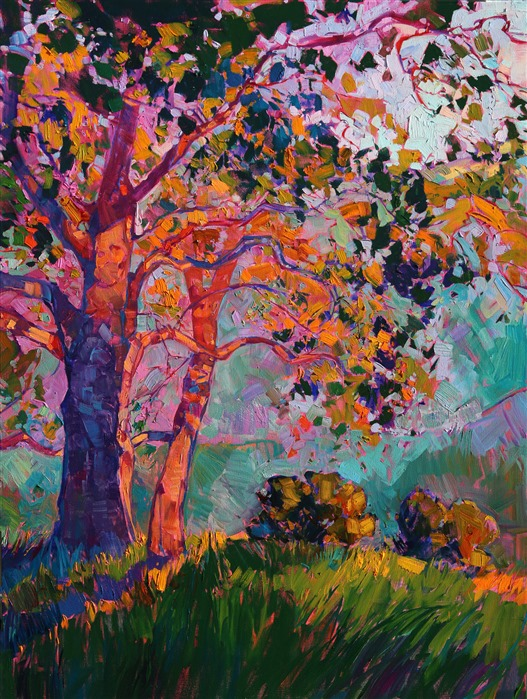 Panel 2: Paso Robles large tritpych oil painting landscape by modern impressionist Erin Hanson