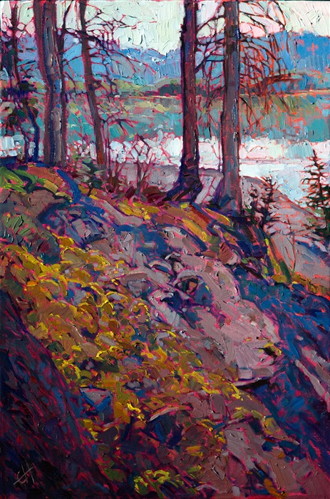 Sierras backpacking inspired oil painting by impressionist artist Erin Hanson