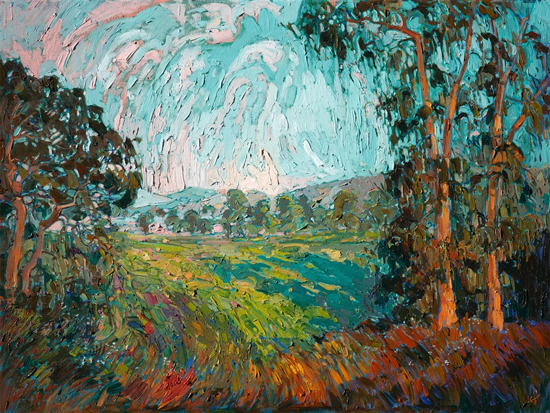 Modern impressionism landscape painting in oils with painterly brush strokes, by Erin Hanson