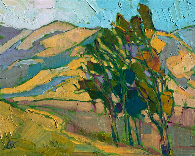 Modern expressionist landscape oil painting by Erin Hanson