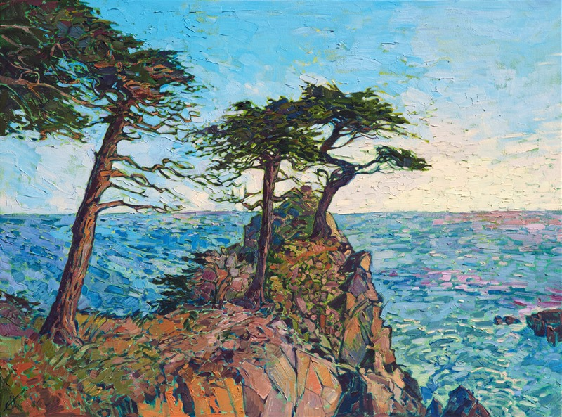 Oil painting of Pebble Beach scenery with iconic cypress tree in earthy colors by impressionist artist Erin Hanson