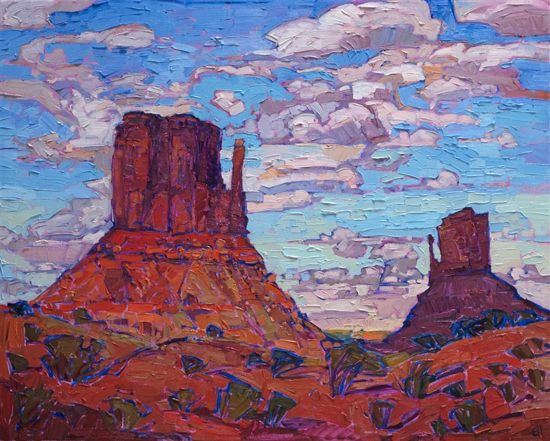 Monument Valley oil painting by contemporary impressionism artist Erin Hanson