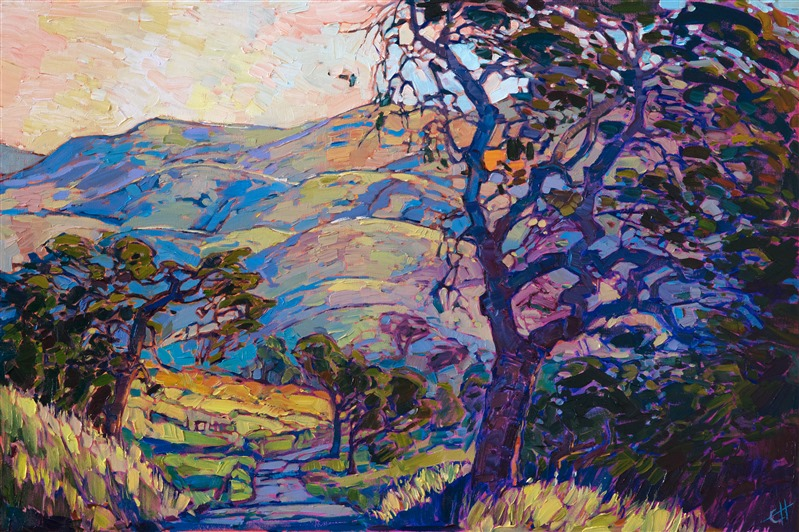 Mariposa wine country oil painting by modern impressionist artist Erin Hanson