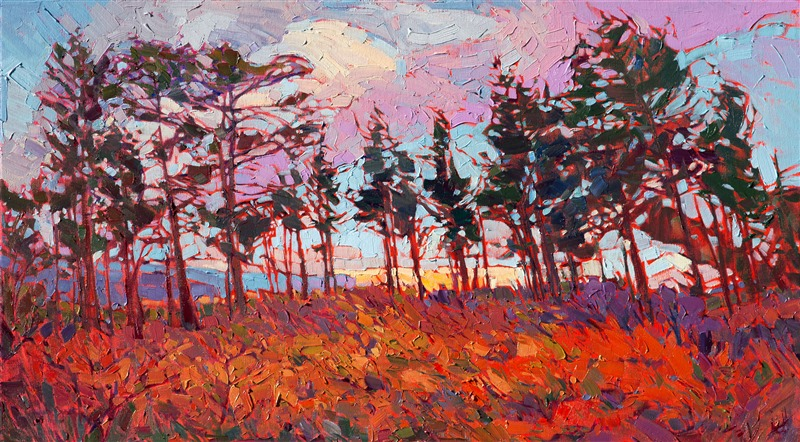 Zion plateau hiking inspired artwork landscape painting by Erin Hanson.