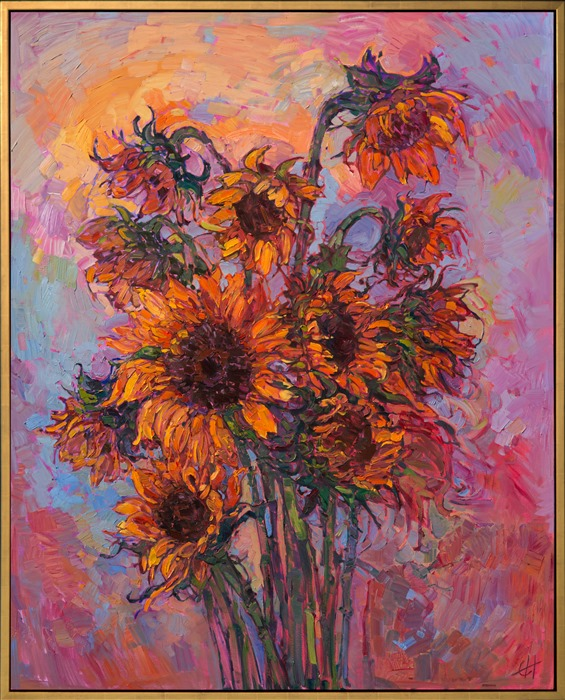 Contemporary impressionistic painting of yellow sunflowers, after Van Gogh.