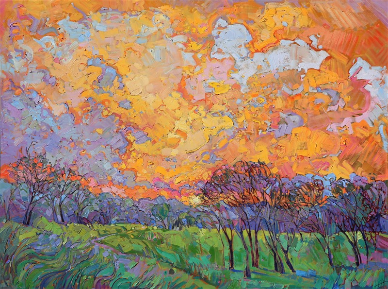 Sunset Burst, original oil painting of Paso Robles with a dramatic sky, by contemporary painter Erin Hanson