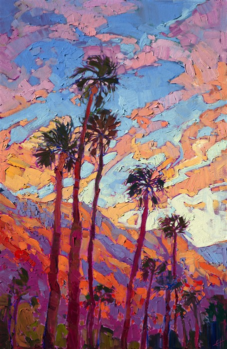 Palm Springs sunset landscape oil painting by Erin Hanson