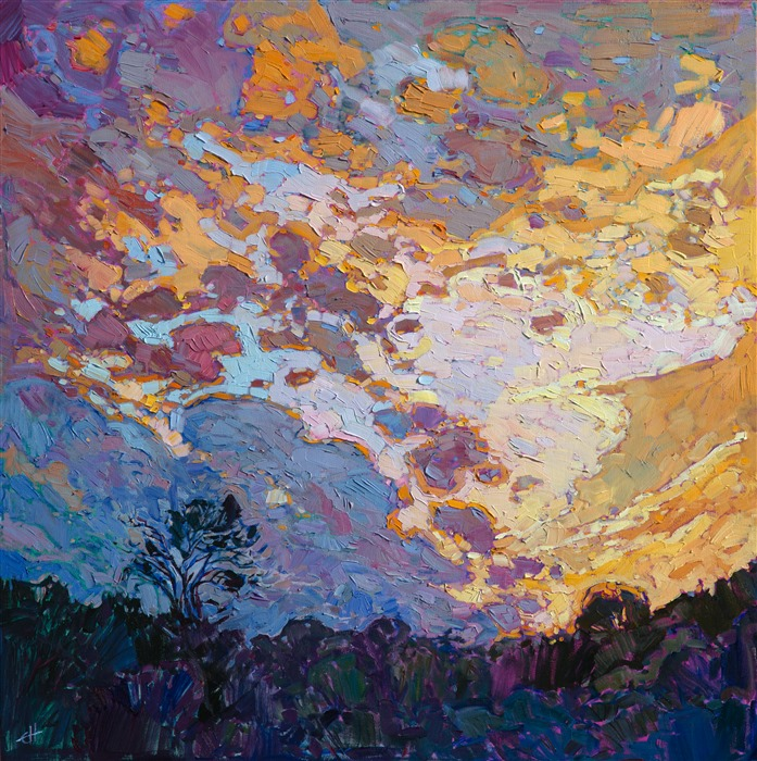 Painting of Fredericksburg, TX, by hill country painter Erin Hanson.