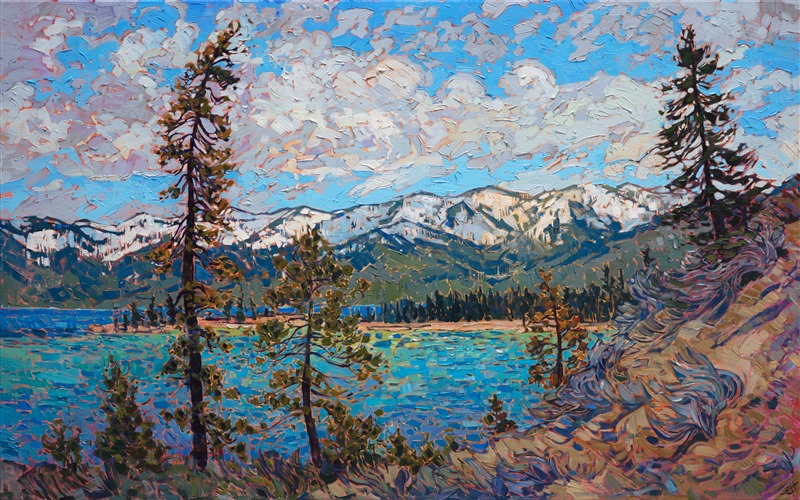 Lake Tahoe landscape original oil painting by Erin Hanson
