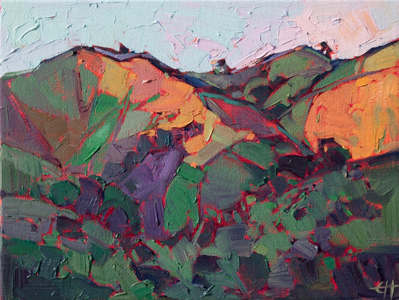 Small oil paintings for sale by modern abstract landscape painter Erin Hanson