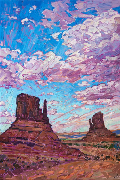 Monument Valley original oil painting for sale by Western impressionist Erin Hanson.