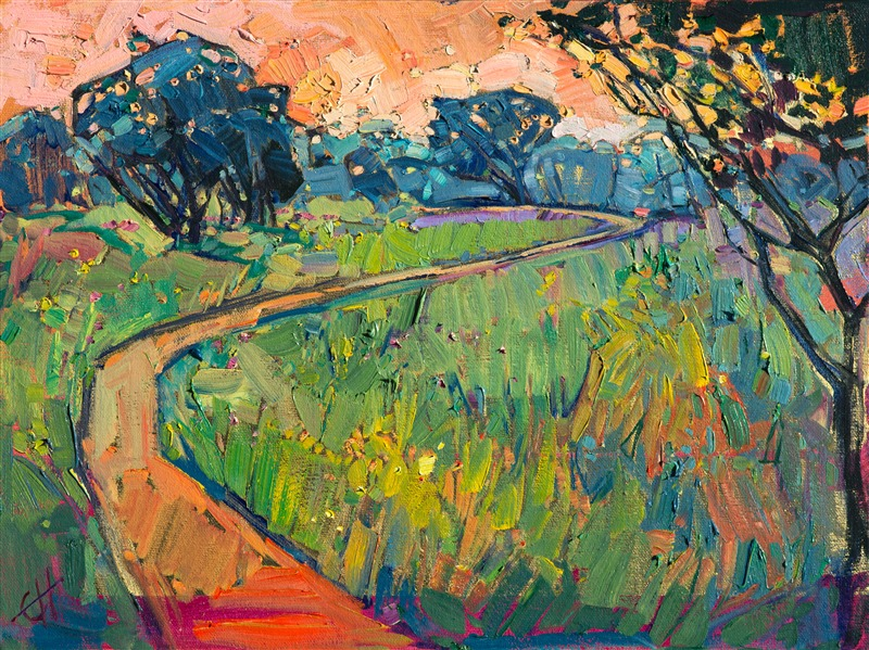 24 Karat gold painting with original oil, by modern painter Erin Hanson