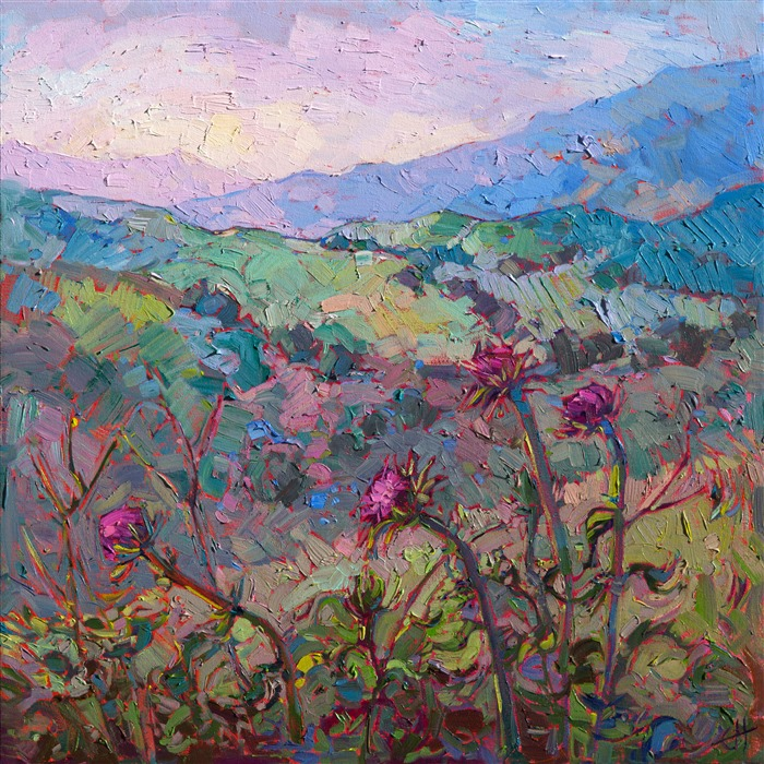 Bold color and vivid brush strokes capture the wildflowers of central California in this original oil painting by Erin Hanson